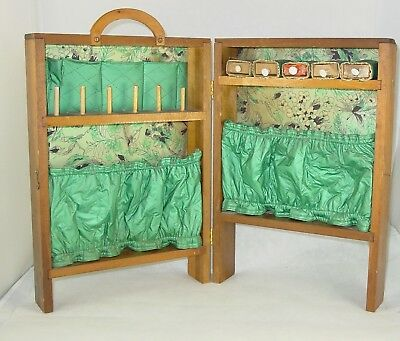 Antique Primitive Wood and Quilted Fabric Portable Sewing Cabinet Art Deco