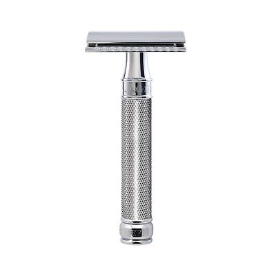 Edwin Jagger DE89KN14BL Double Edge Razor Knurled Chrome Plated Handle