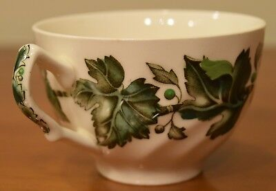English Ornate Porcelain Tea Cup with Green Leaves Made in England Antique