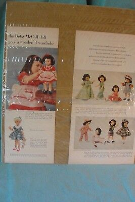 Vintage Mccalls Magazine Ad For Betsy Mccall Doll And Wardrobe 1952