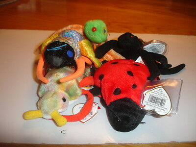 Ty Retired Beanies X  5  Creepy Crawlies   All Retired, New
