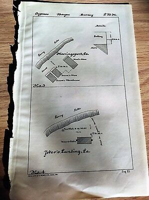 Late 1800's Sketch Map Diagram Cypress Bayou Albany Point LA Sodo Lake