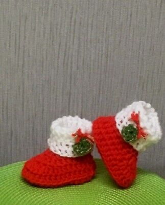 Handmade Crochet Baby Shoes Christmas Booties Wool