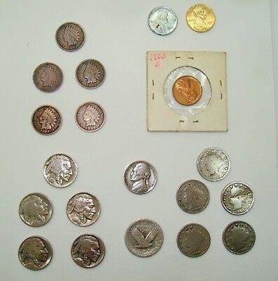 Lot of 20 United States Coins buffalo nickles Indian head pennies war pennies