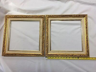 PAIR OF VINTAGE Antique Ornate Gold Wood Frames Nice! 15 3/4\
