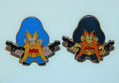 (2) Vintage 1980's Yosemite Sam Enamel Pin Badge Lapel