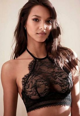 82951cb0c4 Victorias Secret Very Sexy Black Chantilly Lace HighNeck Halter Bralette  Bra32C