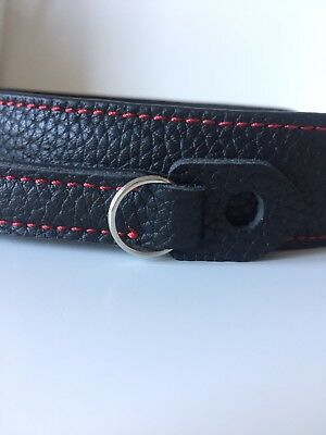Film Camera Leather Strap *Brand New *Black With Red Stitches *UK Stock