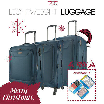 Eaglemate 3pc Luggage Set Suitcase Carry On Bag Soft Lightweight Luggage Navy