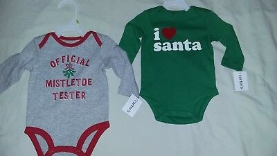 NWT-2 Christmas Bodysuits-Size 3 Months-Long Sleeve-Carter's Brand-BABY Clothes