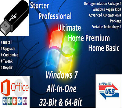 Windows 7 USB Flash Drive 32 & 64 Bit Fresh Install Upgrade Recovery &More