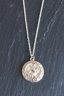 Silver Plated St Saint Christopher Coin Disc Necklace Pendant Chain