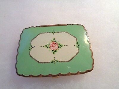 VINTAGE Brass & Green Enamel Face Powder & Rouge COMPACT With Mirror