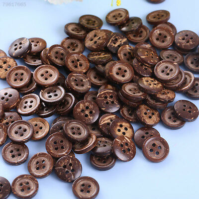 7E87 100pcs/lot Brown Coconut Shell 4 Holes Buttons Accessories Doll Natural