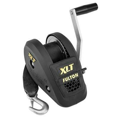 Fulton 1400 lb Single Speed Winch with 20' Strap Black Cover #142311