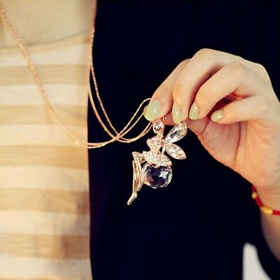 Women Fashion Crystal Fairy Angel Wing Pendant Long Chain Sweater Necklace Gift