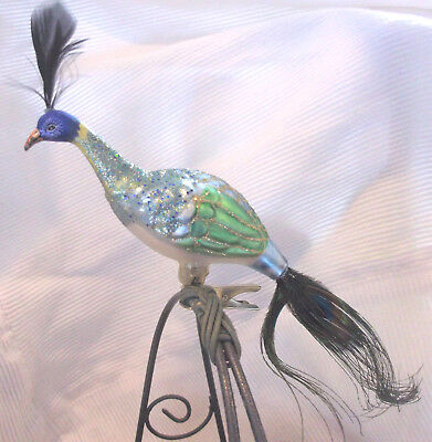 "Grn/Blue 9"" PEACOCK Bird Blown Glass Christmas Ornament Real Feather Tail & Top"