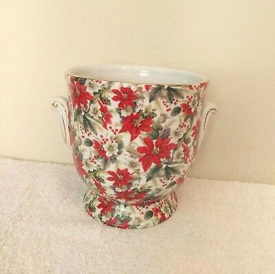 Formalities By Baum Bros Poinsettia Floral Chintz Footed Planter Vase Gold Trim