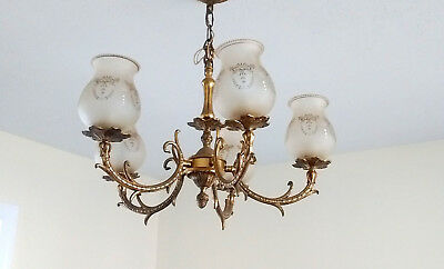 1960'S Brass 5 Arm Chandelier with Original Ornate Glass Shades