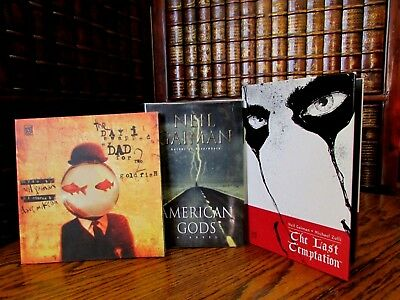 Neil Gaiman, lot of 3, American Gods; The Last Temptations; Swapped my Dad