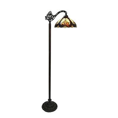 """Reading Floor Lamp Stained Glass Tiffany Style Victorian Design 13"""" Shade"""