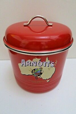 Old Fashion Red Arnotts Storage Tin Home Decor Free Shipping