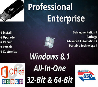 Windows 8.1 Bootable Flash Drive 32 & 64 Bit Fresh Install Upgrade Recover &More