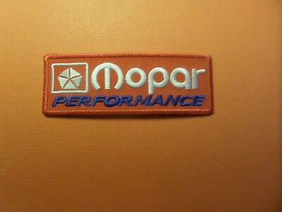 """MOPAR"""" PERFORMANCE silver & RED & blue Embroidered 1-1/2 x 4-1/4 Iron On Patch"""