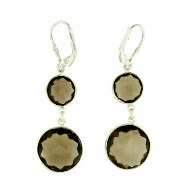 841e60760 Long Brown Faceted Smoky Topaz Sterling Silver Dangle Earrings Fashion  Jewelry