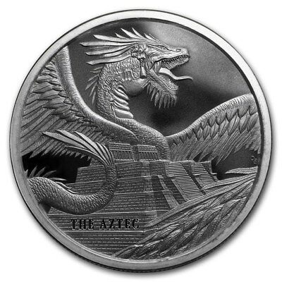 1 Troy Oz. 999 Fine Solid Silver: WORLD of DRAGONS (THE AZTEC) Silver Art-Round