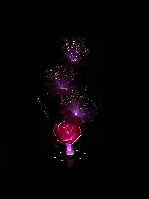 """Vintage Multi Color Changing Fiber Optic Flower Lamp with Music Box 14"""" 5"""" 4"""""""