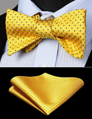 Mens Classic Polka Dot Yellow Self Bow Tie Woven Silk Pocket Square Set BD612YS