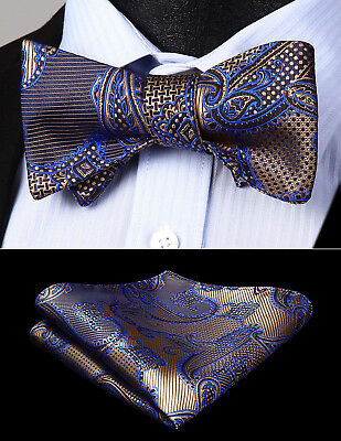 Men Woven Blue Red Paisley Self Bow Tie Butterfly Pocket Square Set#BP603BS