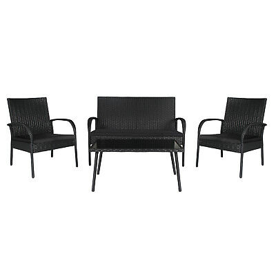 Outdoor Conversation Set with Glass Table 4 Pieces Wicker Rattan Versatile Seat