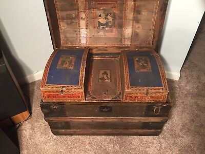 Antique Wooden Trunk Victorian Drawers
