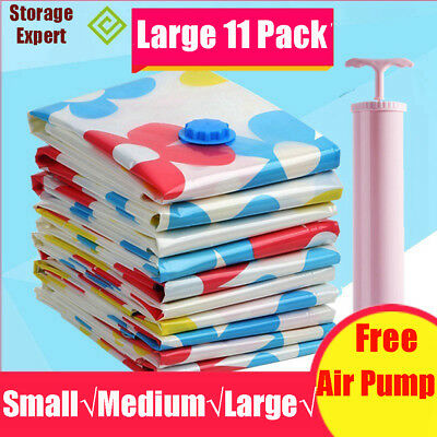 11 X Large Space Saving Storage Vacuum Bags Clothes Bedding Organizer Under Bed
