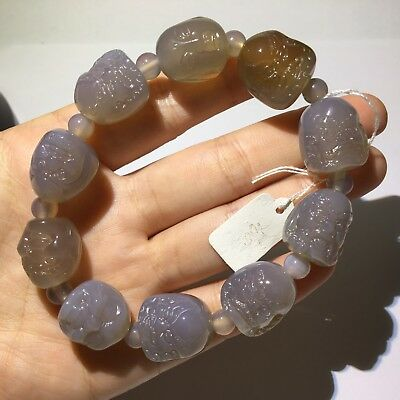 Natural chalcedony agate Jade Icy hand carved  Healing Round Beads Bracelet 喜怒哀乐