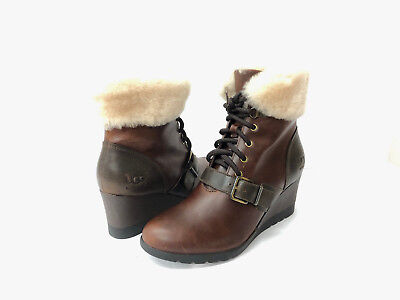 b1a41bc5ac8 UGG AUSTRALIA JANNEY Stout BROWN LEATHER SHEARLING WEDGE ANKLE BOOTS ...