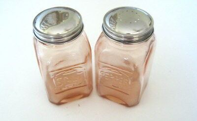"Pink Depression Style Glass Salt/Pepper Shakers Embossed Retro 4 1/2"" x 2 1/2"""