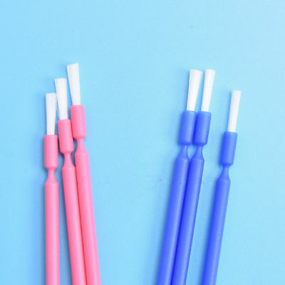 100 Pcs Dental Disposable Micro Applicator Brush Bendable Long Shank Pink Blue