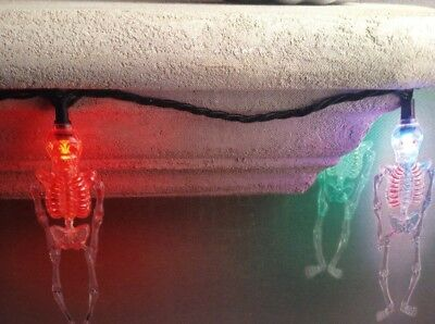 New 10 Skeleton String Lights Halloween Decorations Color Changing End to end