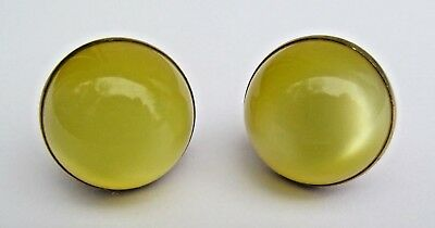 Anson Yellow Moonstone Cufflinks Cabochon Goldtone Metal Round Pat No 239666 Vtg