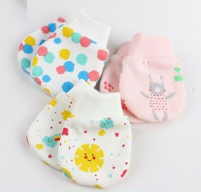 A Pair of Baby Anti Scratch Mittens Mitts Gloves 100% Cotton