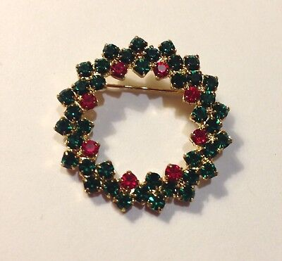 """Vintage Crystal Christmas Wreath Pin Brooch Red Green Prong Set Gold Tone 1.25"""""""