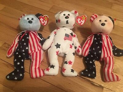 Set of 3 Authentic Red and Blue Faced Glory and Spangle Beanie Baby Set