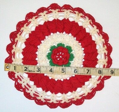 """Vintage RED, WHITE, GREEN Crocheted Cotton DOILY with ROSE  3-D center, 8 3/4"""""""