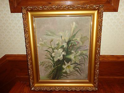 Early 20th.c Original Oil Painting on Canvas Cluster of White Day Lilies Vintage