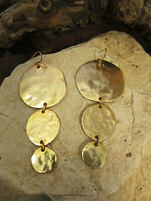 Vintage Gold tone KENNETH LANE signed Three Hammered Linked Discs Dangle Earring