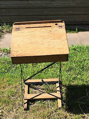 Vintage Wooden School Desk, Folding, Metal Frame, Prop, Theatrical Display