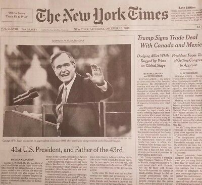 The New York Times December 1, 2018. 12/1/18 George H.W. Bush Passing 1924-2018